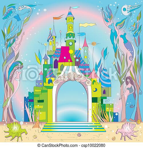 Stock Illustration Of Underwater Castle