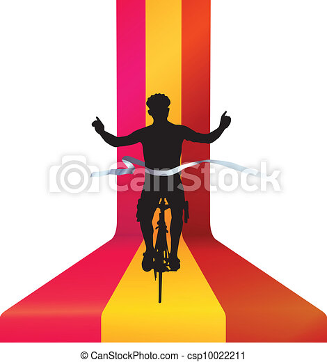 Bicyclist finishing bicycle race - winning concept - csp10022211