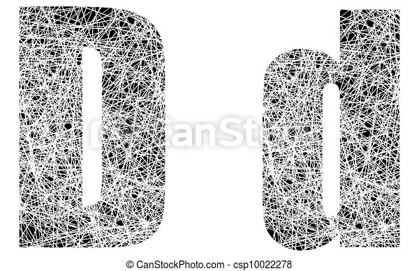 Abstract Black and White Font Letter D - csp10022278