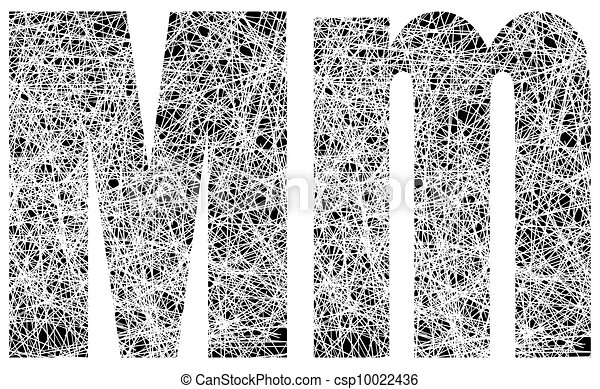 Abstract Black and White Font Letter M - csp10022436