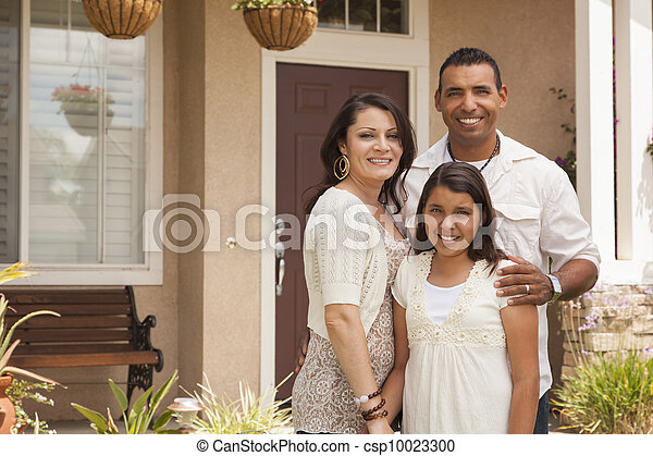 Small Hispanic Family in Front of Their Home - csp10023300