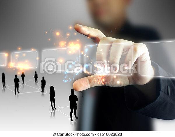 Businessman holding touchscreen - csp10023828