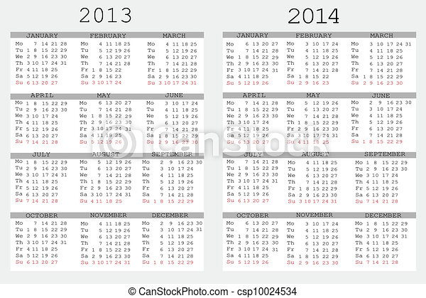 Vector   Set Of 2013 And 2014 Calendar For Your Notebook   Stock