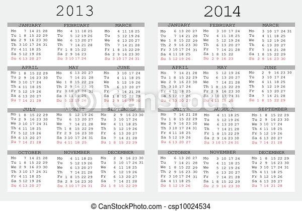vektor satz von 2013 und 2014 kalender f r dein notizbuch stock illustration. Black Bedroom Furniture Sets. Home Design Ideas
