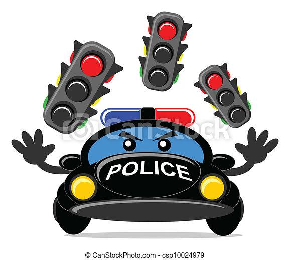 Illustrations vectoris es de voiture police dessin anim police voiture csp10024979 - Voiture police dessin anime ...