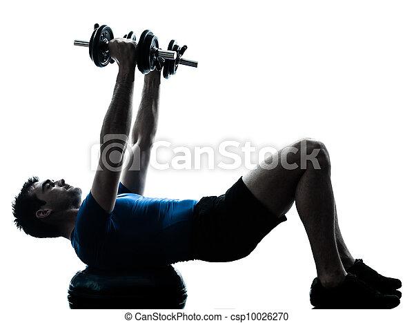 man exercising bosu weight training workout fitness posture - csp10026270