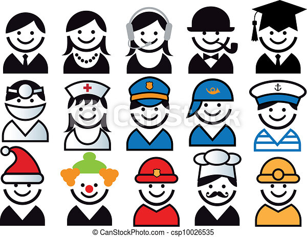 profession vector people icon set - csp10026535