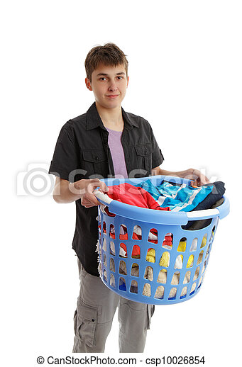 Teenager holding a basket of housework - csp10026854