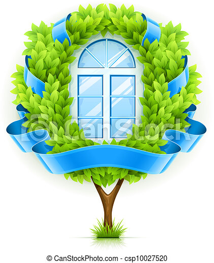 Ecological window concept with green tree - csp10027520