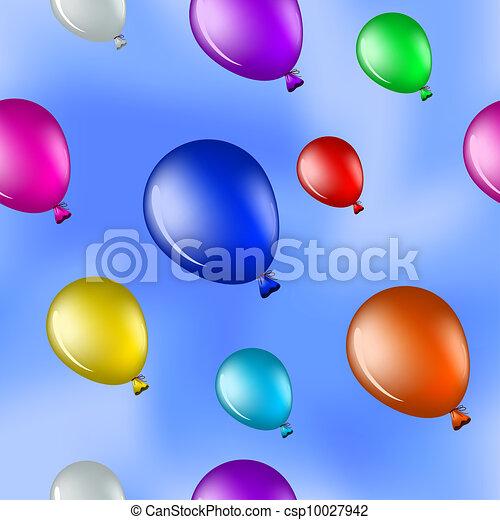 库存插图-气球, 蓝色, 天空