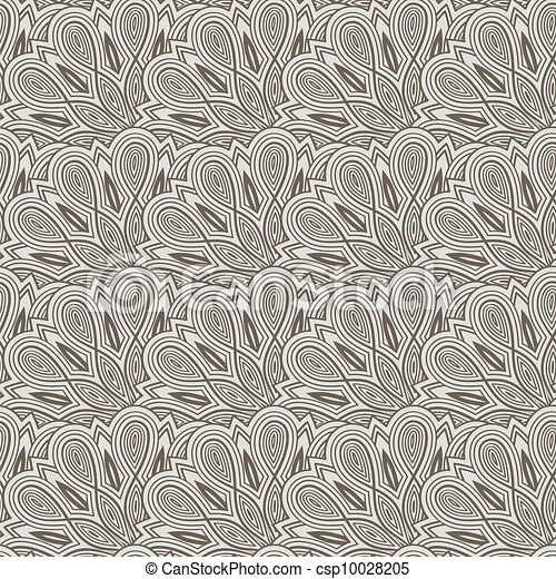 vector seamless floral  monochrome pattern with bizarre flowers - csp10028205