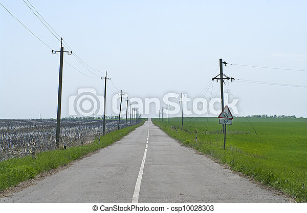 Typical steppe road in Ukraine - csp10028303
