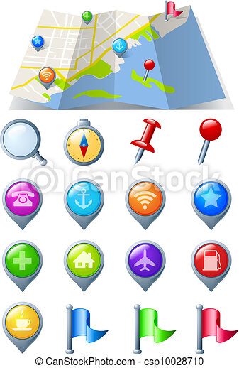 Map with Navigation Icon pack - csp10028710