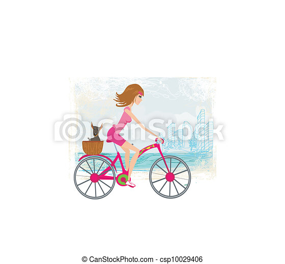 woman riding a bike in the city - csp10029406