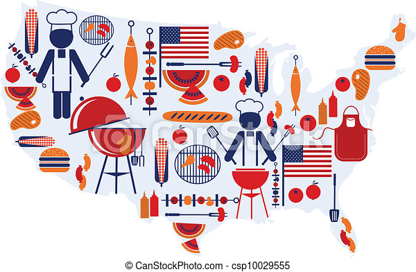4th of July celebration; Flag with barbecue icons - csp10029555