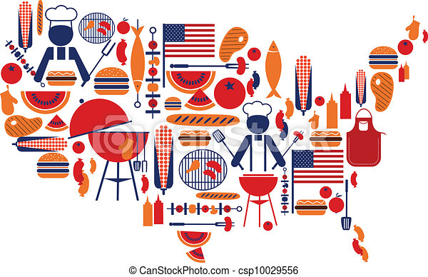 4th of July celebration; Flag with barbecue icons - csp10029556
