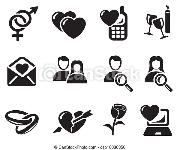 Love and dating icons - csp10030356