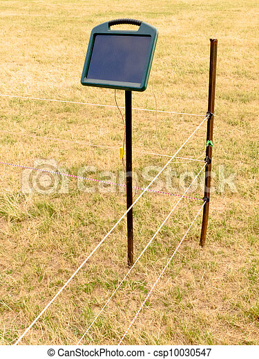 Solar electric livestock fence charger and fencing - csp10030547