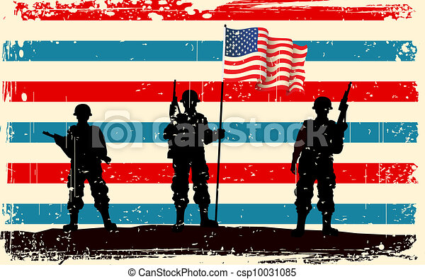 American soldier standing with American flag - csp10031085