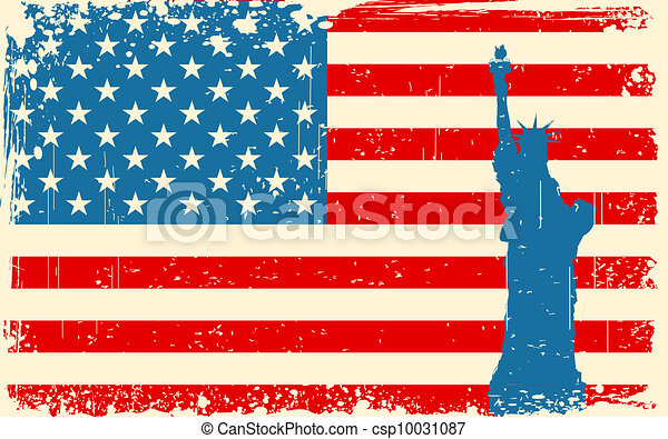 Statue of Liberty on American Flag - csp10031087