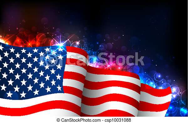 Glowing American Flag - csp10031088
