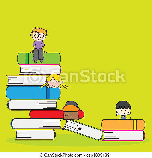 students and books - csp10031391