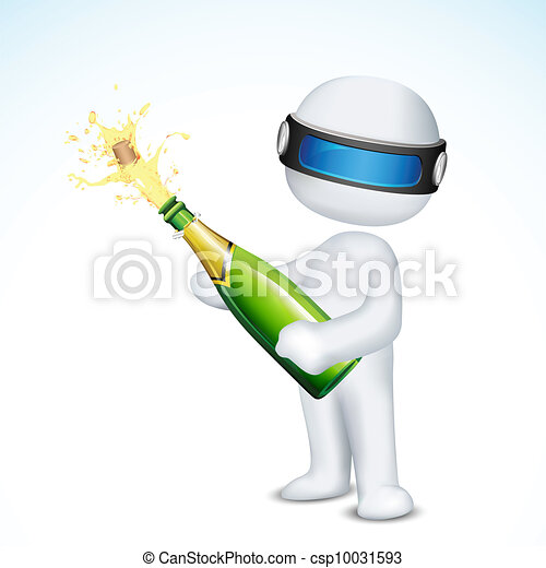 3d Man with Champagne Bottle - csp10031593