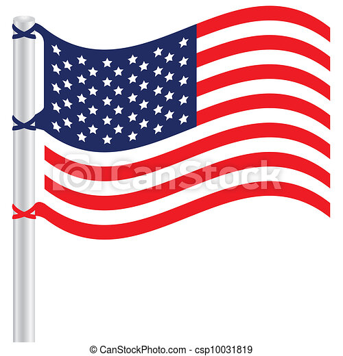 Vector Clip Art of United States flag on a pole, Vector ...