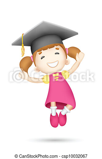 3d Girl with Mortar Board - csp10032067