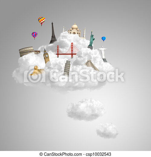 traveling the world dream landmark concept - csp10032543