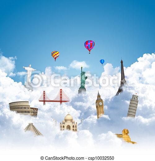 traveling the world dream landmark concept - csp10032550