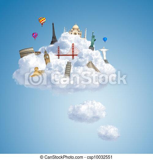 traveling the world dream landmark concept - csp10032551