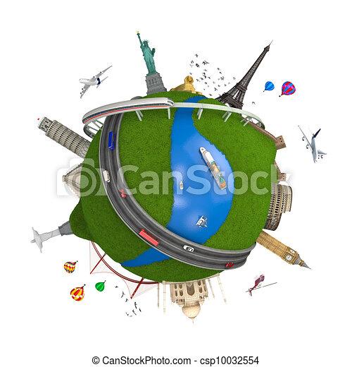 world travel globe concept isolated - csp10032554