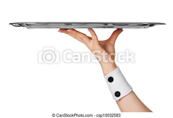 images de m tal isol main blanc plateau vide serveur tenue csp10032583 recherchez. Black Bedroom Furniture Sets. Home Design Ideas