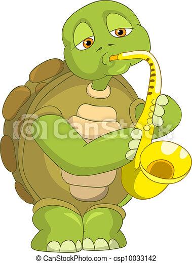 Vecteur eps de rigolote tortue saxophoniste dessin - Image tortue rigolote ...