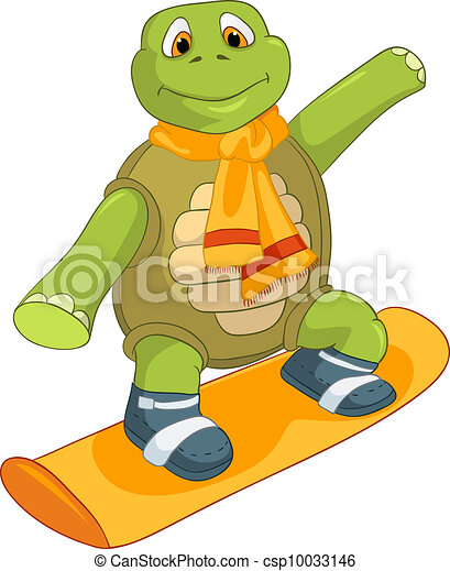 Vecteur eps de rigolote tortue snowboarding dessin - Image tortue rigolote ...