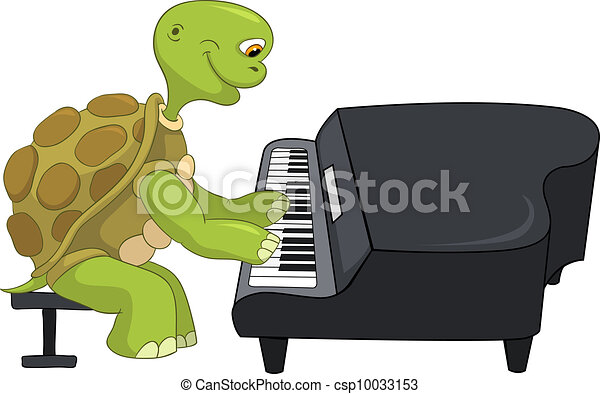 Vecteur clipart de rigolote pianiste tortue dessin - Image tortue rigolote ...