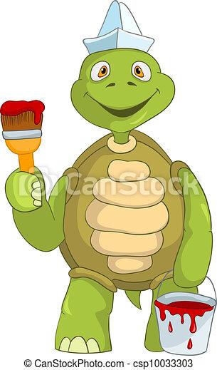 Clipart vecteur de rigolote tortue peintre dessin - Tortue rigolote ...