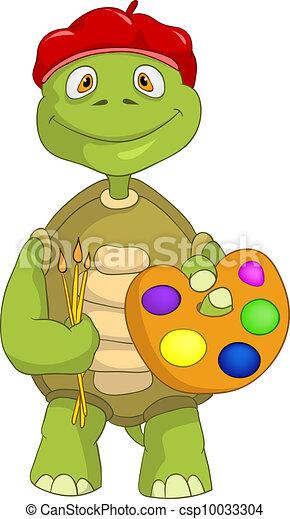 Clipart vecteur de rigolote tortue artiste dessin - Image tortue rigolote ...
