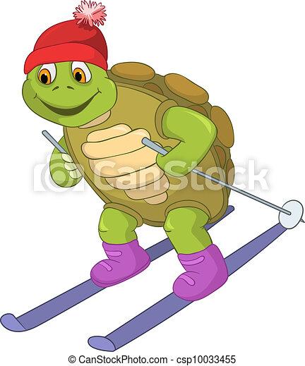 Vecteur clipart de rigolote ski tortue dessin anim - Image tortue rigolote ...