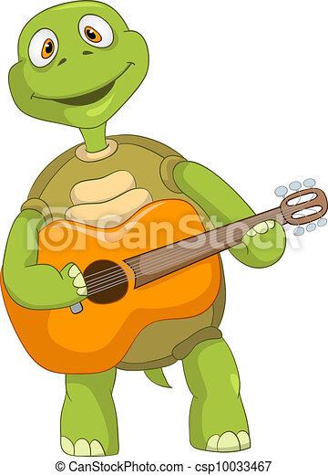 Clip art vecteur de rigolote guitariste tortue dessin - Image tortue rigolote ...