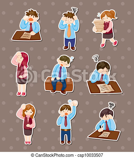 Tired businessman stickers - csp10033507