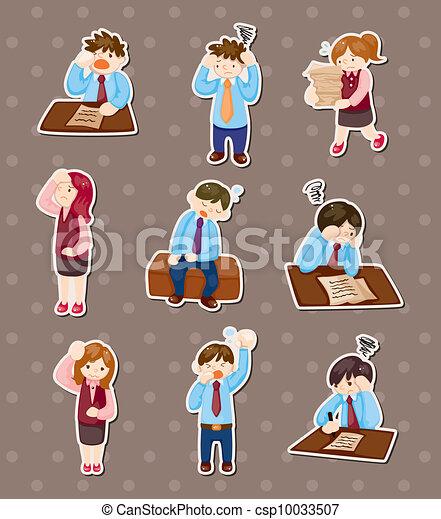 Tired businessman stickers - csp10033507