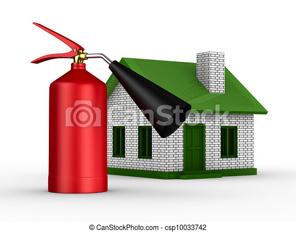 Fire-prevention protection of house. Isolated 3D image - csp10033742
