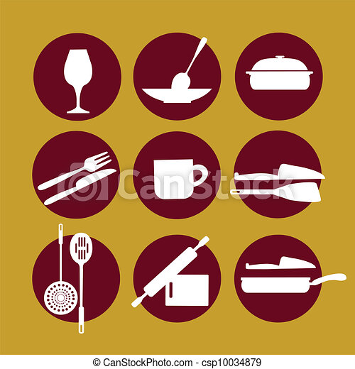 kitchenware icon set on yellow - csp10034879