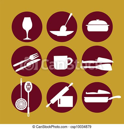 kitchenware icon set on yellow - csp10034879
