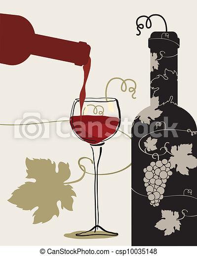 Vecteur eps de verre bouteille raisins vin bouteille vin verre csp10035148 - Verre de vin dessin ...