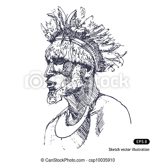 Man in tradition of Papuans - csp10035910