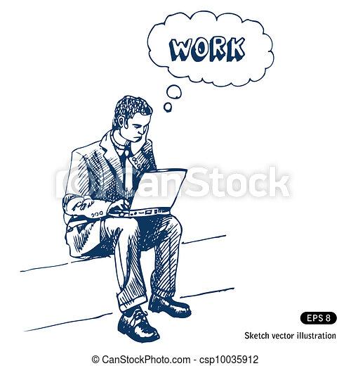 Man sitting on step with laptop - csp10035912