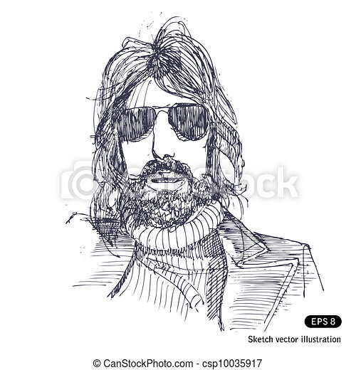 Man with long hair and sunglasses - csp10035917